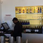 Cashier corner and wine bottles