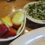 Sides - fresh fruit cup and the new brussel sprouts n kale salad
