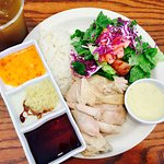 33a Hainan Chicken Rice with Salad (dark meat only) + Iced Chrysanthemum Tea