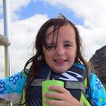 My daughter between water entries