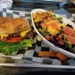 Miller Grill Hamburger and side salad with artisan lettuce