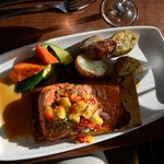 Wild Maple Salmon on plank with mango salsa on top
