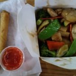 Healthy Yummy Food to go! Spring Rolls, & Stir Fry Chicken with mixed vegies... $14.50. Out the