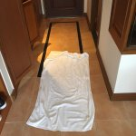 leaky floor, had to put a towel down to not get water everywhere