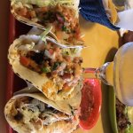 Taco de Camaron- 3 flour tortillas w/ shrimp, rice,black beans,pico de gallo,cabbage,cheese,chip