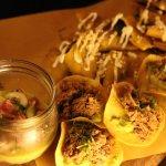 platter of Antojitos, Mushroom traditional quesadilla, chicken taquitos dorados, Shredded beef