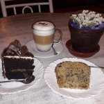 Chocolate cake, cappuccino, and quinoa keke