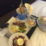 New York Steak, Cheesecake, and bottle of Hogue Pinot Grigio via room service