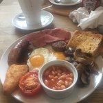 The Big lazy cow breakfast minus one sausage as my daughter insisted on having one with her scra