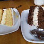 Lemon sponge and carrot/passion cake. Yummy!