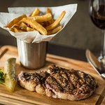 rib steak & fries
