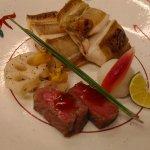 焼き物:笹ガレイ塩焼き、和牛炙り、からし蓮根、ミョウガ