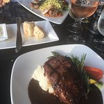 Veal/shrimp and linguine, Steak with peppercorn stilton sauce and mashed potatoes.