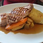 Char Grilled Pork Loin Steak and Confit Belly, Bubble and Squeak Mash, Heritage Carrots