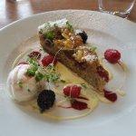 Honey, Raspberry, Almond and Pistachio nut Frangipan, creme Anglaise, fresh berries, Raspberry I