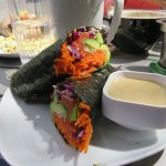 Nori wrap with avocado, lots of fresh veggies and smoked salmon