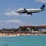View of Maho Beach from terrace