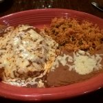 Cheese Enchilada and Chii Relleno (with Meat). Sides of rice and beans.