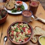 Mediterranean salad, vegan hot chocolate, banana & cacao smoothie