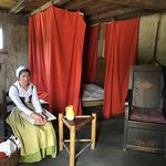 Reenactment inside cottage at plimoth plantation Plymouth cape cod USA