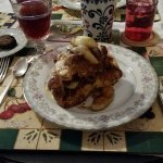 French twist bread soaked in a creme brule sauce, carmelized apples, topped with a creme anglais
