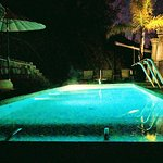 Night swim in heated rooftop pool