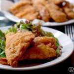 Fried chicken and green salad for lucnh