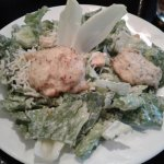 My caesar salad with two crab cakes. There were also two pieces of belgian endive with it