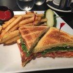 Salmon club and the white cheddar bacon Kobe burger