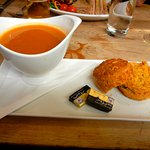 tomato soup with cheddar scone