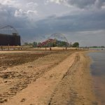 on the shore behind Hotel Breakers at Cedar point amusement park
