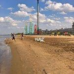 on the beach at Cedar point amusement park