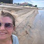 on the beach behind Hotel Breakers at Cedar point amusement park