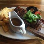 Porterhouse steak with peppercorn sauce
