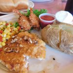 Honey Pecan Chicken with 2 Shrimp and sides $10.99