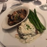 Filet with bleu cheese and side of Drunken Mushrooms and asparagus.