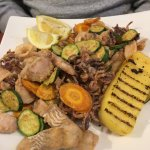 Seafood platter with Polenta