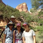 Angel's Landing in the background! Completion of our hike