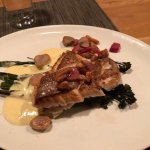 snapper on bed of broccolini and hollandaise, pecans and green strawberries