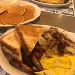 Three-Meat Special plus silver dollar pancakes