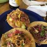 tacos: tuna, shrimp tempura and pork