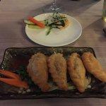 """""""Crispy Special dumplings"""" and a shrimp/pickle appetizer."""