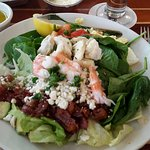 The best seafood Cobb Salad with fresh lobster and shrimp.