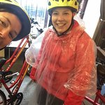 returning our bikes after giving up on the rain!