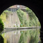 The canals pass through several tunnels. This photo is emerging from one.