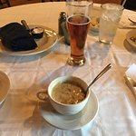 Cheddar broccoli soup and Yuengling with my steak dinner.