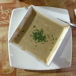 flavorsome cream of mushroom soup with shallots