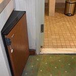 empty fridge opens towards bathroom