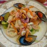 The antipasto sea food plate.