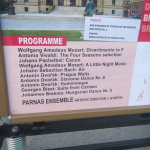 Programme details on the sign